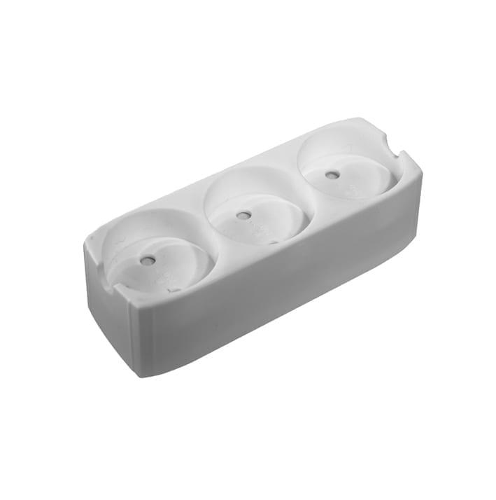 3-stikdåse m/jord, hvid